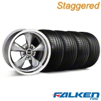Staggered Deep Dish Bullitt Anthracite Wheel & Falken Tire Kit - 18x9/10 (05-14 GT, V6) - American Muscle Wheels 28322