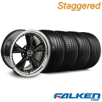 Staggered Bullitt Motorsport Black Wheel & Falken Tire Kit - 18x9/10 (05-14 GT, V6) - American Muscle Wheels KIT||mb1||79569||10107||10108||79570