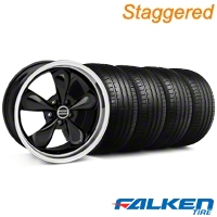Staggerd Bullitt Black Wheel & Falken Tire Kit - 18x9/10 (05-14 GT, V6) - American Muscle Wheels 28264