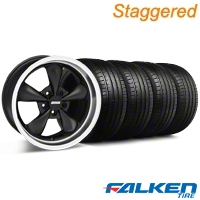 Staggered Bullitt Deep Dish Matte Black Wheel & Falken Tire Kit - 18x9/10 (05-14 GT, V6) - American Muscle Wheels KIT||79570||28305||28303||mb1||79569