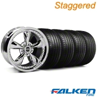 Staggered Bullitt Motorsport Chrome Wheel & Falken Tire Kit - 18x9/10 (05-14 GT, V6) - American Muscle Wheels 10116