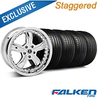 Staggered Shelby Razor Chrome Wheel & Falken Tire Kit - 18x9/10 (05-14) - American Muscle Wheels KIT||27226||mb1||79569||79570||27228