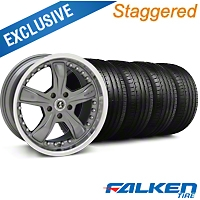 Staggered Shelby Razor Gunmetal Wheel & Falken Tire Kit - 18x9/10 (05-14) - American Muscle Wheels KIT||79569||27221||mb1||79570||27223