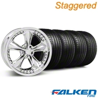 Staggered Foose Nitrous Chrome Wheel & Falken Tire Kit - 18x9/10 (05-14) - American Muscle Wheels KIT||mb1||79570||32829||32815||79569