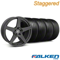 Staggered Forgestar CF5 Monoblock Matte Black Wheel & Falken Tire Kit - 18x9/10 (05-14 All) - American Muscle Wheels KIT||29602||29603||79569||79570