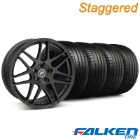 Staggered Forgestar F14 Monoblock Matte Black Wheel & Falken Tire Kit - 18x9/10 (05-14 All) - American Muscle Wheels KIT||29606||29607||79569||79570