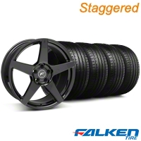 Staggered Forgestar CF5 Monoblock Gloss Black Wheel & Falken Tire Kit - 18x9/10 (05-14 All) - American Muscle Wheels KIT||29618||29619||79569||79570