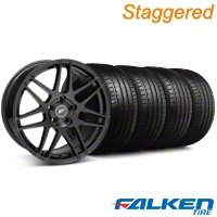 Staggered Forgestar F14 Monoblock Gloss Black Wheel & Falken Tire Kit - 18x9/10 (05-14 All) - American Muscle Wheels KIT||29622||29623||79569||79570