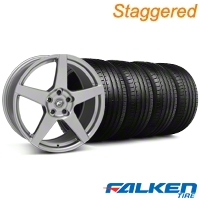 Staggered Forgestar CF5 Monoblock Gunmetal Wheel & Falken Tire Kit - 18x9/10 (05-14 All) - American Muscle Wheels KIT||29610||29611||79569||79570