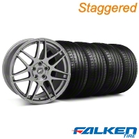 Forgestar Staggered F14 Monoblock Gunmetal Wheel & Falken Tire Kit - 18x9/10 (05-14 All) - Forgestar KIT||29614||29615||79569||79570