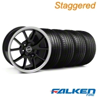Staggered FR500 Black Wheel & Falken Tire Kit - 18x9/10 (05-14 All) - American Muscle Wheels KIT||10070||28272||79569||79570