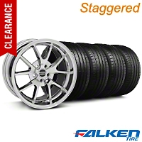 Staggered FR500 Chrome Wheel & Falken Tire Kit - 18x9/10 (05-14 All) - American Muscle Wheels KIT||10071||28273||79569||79570