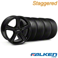 Staggered 2010 GT Premium Black Wheel & Falken Tire Kit - 18x9/10 (05-14) - American Muscle Wheels KIT||28210||28216||79569||79570