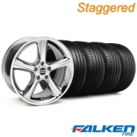 Staggered 2010 GT Premium Chrome Wheel & Falken Tire Kit - 18x9/10 (05-14) - American Muscle Wheels KIT||28211||28217||79569||79570
