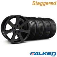 Staggered S197 Saleen Black Wheel & Falken Tire Kit - 18x9/10 (05-14) - American Muscle Wheels KIT||28357||28360||79569||79570
