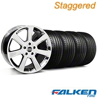 Staggered S197 Saleen Chrome Wheel & Falken Tire Kit - 18x9/10 (05-14) - American Muscle Wheels KIT||28355||28358||79569||79570
