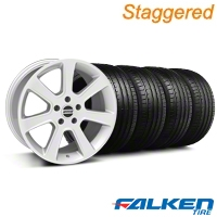 Staggered S197 Saleen Silver Wheel & Falken Tire Kit - 18x9/10 (05-14) - American Muscle Wheels KIT||28356||28359||79569||79570