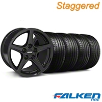 Staggered Saleen Black Wheel & Falken Tire Kit - 18x9/10 (05-14 GT, V6) - American Muscle Wheels KIT||79570||mb1||28252||28193||79569