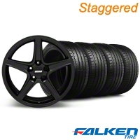 Staggered Saleen Matte Black Wheel & Falken Tire Kit - 18x9/10 (05-14 GT, V6) - American Muscle Wheels KIT||79570||mb1||28306||79569||28308