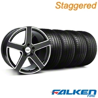 Staggered TSW Rivage Black Machined Wheel & Falken Tire Kit - 19x8/9.5 (05-14) - American Muscle Wheels KIT||79571||33584||mb1||33583||79572