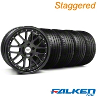 Staggered TSW Valencia Matte Black Wheel & Falken Tire Kit - 19x8/9.5 (05-14) - American Muscle Wheels KIT||33613||33614||79571||mb1||79572