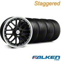 Staggered TSW Valencia Black w/ Polished Lip Wheel & Falken Tire Kit - 19x8/9.5 (05-14 All) - American Muscle Wheels KIT||33626||mb1||79572||33625||79571