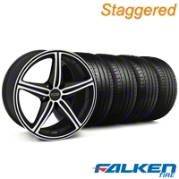 Staggered Foose Speed Black Machined Wheel & Falken Tire Kit - 19x8.5/9.5 (05-14 All, Excluding GT500) - American Muscle Wheels KIT||mb1||79572||32820||79571||32821
