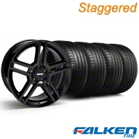 Staggered 2010 GT500 Black Wheel & Falken Tire Kit - 19x8.5/10 (05-14) - American Muscle Wheels KIT||28236||28239||79571||79572