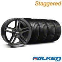 Staggered 2010 GT500 Matte Black Wheel & Falken Tire Kit - 19x8.5/10 (05-14 ALL) - American Muscle Wheels KIT||99270||99271||79571||79572