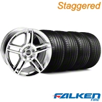 Staggered 2010 GT500 Chrome Wheel & Falken Tire Kit - 19x8.5/10 (05-14) - American Muscle Wheels KIT||28237||28240||79571||79572