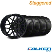 Staggered 2013 GT500 Gloss Black Wheel & Falken Tire Kit - 19x8.5/10 (05-14 All) - American Muscle Wheels KIT||99371||99375||79571||79572