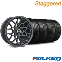 Staggered 2013 GT500 Charcoal Wheel & Falken Tire Kit - 19x8.5/10 (05-14 All) - American Muscle Wheels KIT||99372||99376||79571||79572