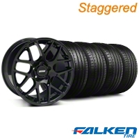 Staggered AMR Black Wheel & Falken Tire Kit - 19x8.5/10 (05-14) - American Muscle Wheels KIT||33783||33784||79571||79572