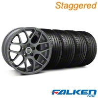 Staggered AMR Charcoal Wheel & Falken Tire Kit - 19x8.5/10 (05-14) - American Muscle Wheels KIT||28336||28387||79571||79572