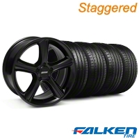 Staggered 2010 GT Premium Black Wheel & Falken Tire Kit - 19x8.5/10 (05-14) - American Muscle Wheels KIT||28230||28233||79571||79572