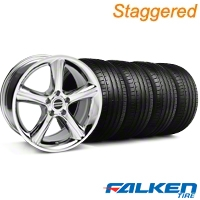 Staggered 2010 GT Premium Chrome Wheel & Falken Tire Kit - 19x8.5/10 (05-14) - American Muscle Wheels KIT||28231||28234||79571||79572