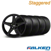 Staggered Saleen Black Wheel & Falken Tire Kit - 19x8.5/10 (05-14 GT, V6) - American Muscle Wheels KIT||79571||99260||mb1||79572||99259