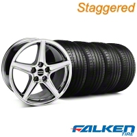 Staggered Saleen Chrome Wheel & Falken Tire Kit - 19x8.5/10 (05-14 GT, V6) - American Muscle Wheels KIT||99262||99261||mb1||79572||79571