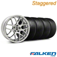 Staggered AMR Silver Wheel & Falken Tire Kit - 19x8.5/10 (05-14 All) - American Muscle Wheels KIT||33803||33806||79571||79572