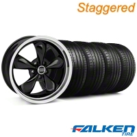 Staggered Bullitt Black Wheel & Falken Tire Kit - 19x8.5/10 (05-14 GT, V6) - American Muscle Wheels KIT||79572||79571||28247||28248||mb1