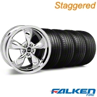 Staggered Bullitt Chrome Wheel & Falken Tire Kit - 19x8.5/10 (05-14 GT, V6) - American Muscle Wheels 28250