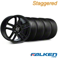 Staggered Laguna Seca Style Black Wheel & Falken Tire Kit - 19x9/10 (05-14 All) - American Muscle Wheels KIT||mb1||79571||99222||79572||99223