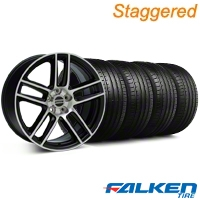 Staggered Laguna Seca Style Black Machined Wheel & Falken Tire Kit - 19x9/10 (05-14 All) - American Muscle Wheels KIT||99225||79572||99224||mb1||79571