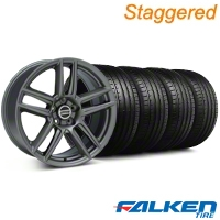 Staggered Laguna Seca Style Charcoal Wheel & Falken Tire Kit - 19x9/10 (05-14 All) - American Muscle Wheels KIT||79572||mb1||79571||99220||99221