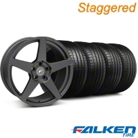 Staggered Forgestar CF5 Monoblock Matte Black Wheel & Falken Tire Kit - 19x9/10 (05-14 All) - American Muscle Wheels KIT||29600||29601||79571||79572