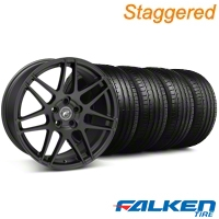 Forgestar Staggered F14 Monoblock Matte Black Wheel & Falken Tire Kit - 19x9/10 (05-14 All) - Forgestar KIT||29604||29605||79571||79572