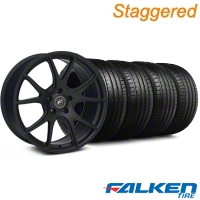 Staggered Forgestar CF5V Monoblock Matte Black Wheel & Falken Tire Kit - 19x9/10 (05-14) - American Muscle Wheels KIT||29856||29857||79571||79572