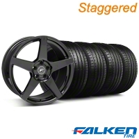 Staggered Forgestar CF5 Monoblock Gloss Black Wheel & Falken Tire Kit - 19x9/10 (05-14 All) - American Muscle Wheels KIT||29616||29617||79571||79572