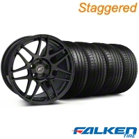 Forgestar Staggered F14 Monoblock Piano Black Wheel & Falken Tire Kit - 19x9/10 (05-14 All) - Forgestar KIT||29620||29621||79571||79572