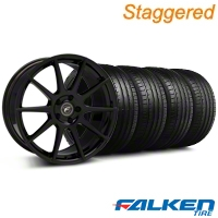 Staggered Forgestar CF10 Monoblock Piano Black Wheel & Falken Tire Kit - 19x9/10 (05-14) - American Muscle Wheels KIT||29844||29845||79571||79572